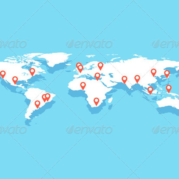 World Map With Big Cities, Vector