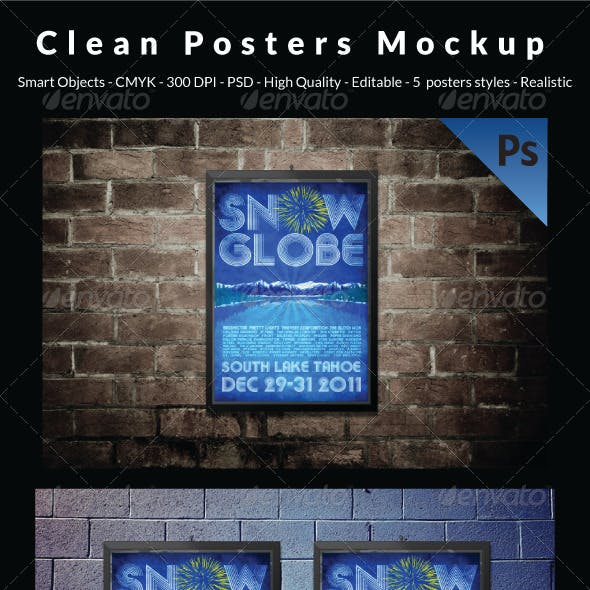 Clean Posters Mockup