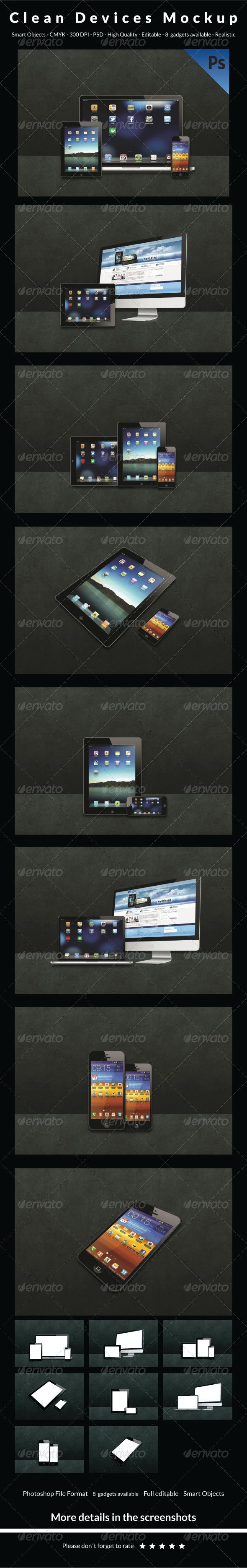 Clean Devices Mockup - Multiple Displays