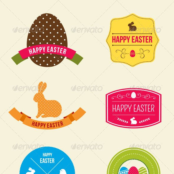 Easter Hipster Vector Emblems and Badges