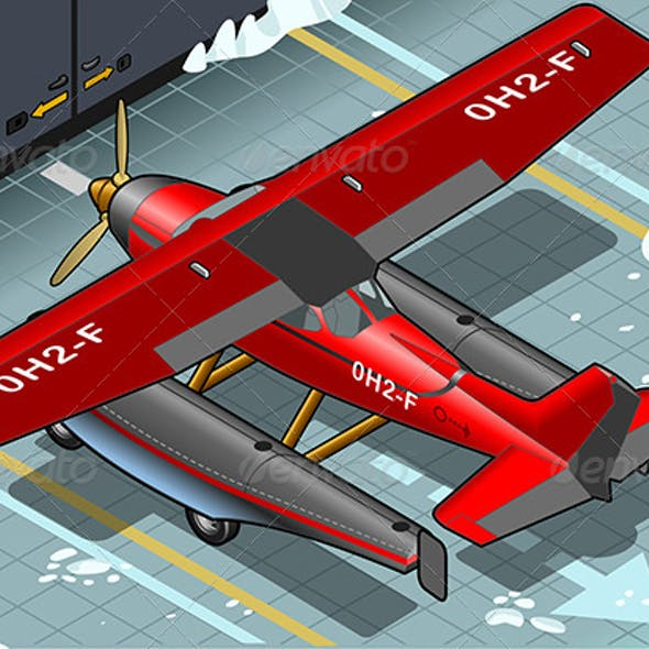 Isometric Artic Hydroplane Landed in Rear View