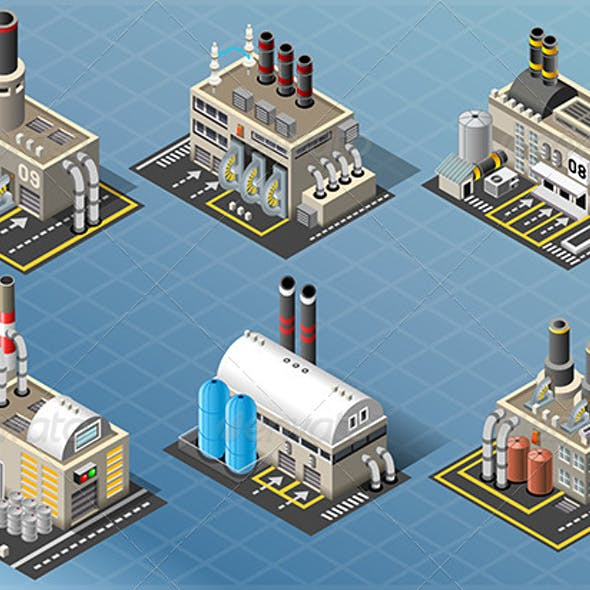 Set of Energy Industries Buildings