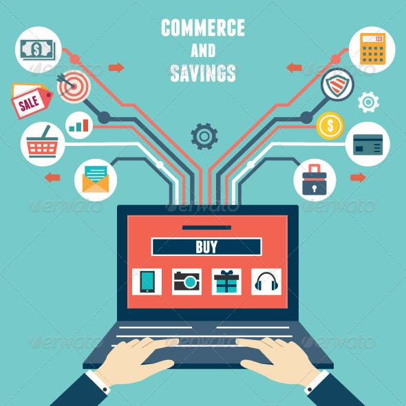 Vector Flat Concept of Commerce and Savings