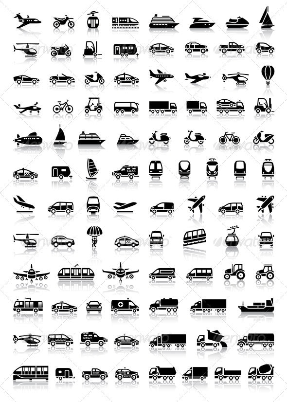 Bundle Transport 94 Icons with Reflection - Miscellaneous Icons