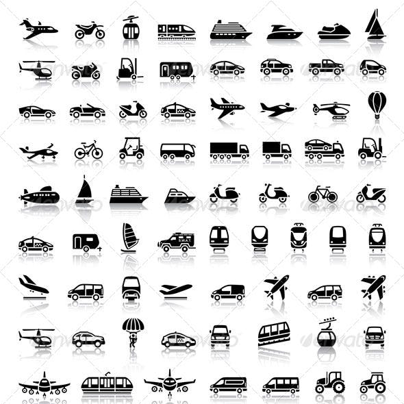 Bundle Transport 94 Icons with Reflection