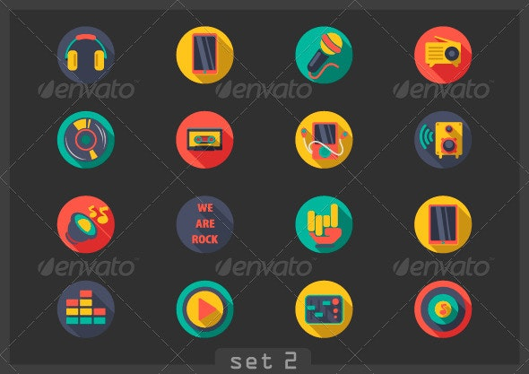 Flat Music Icons - Technology Conceptual