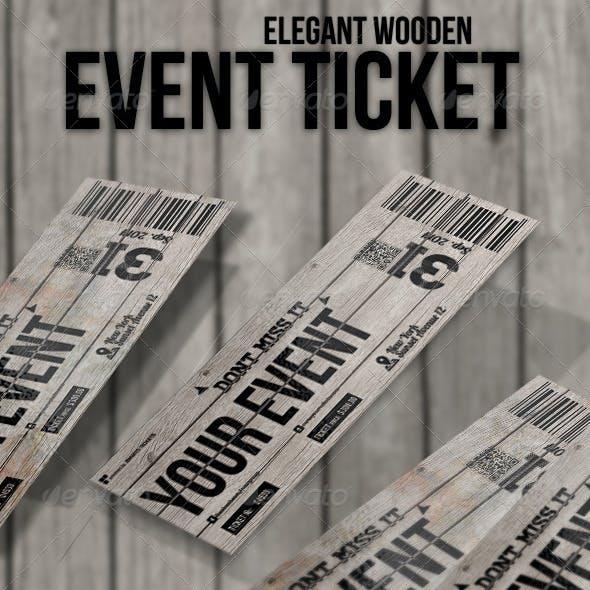 Elegant wooden ticket