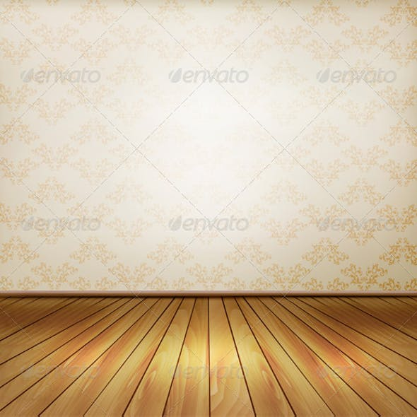 Background with Old Wall and a Wooden Floor