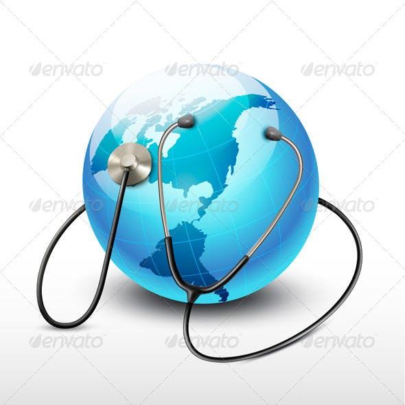 Stethoscope Against a Globe