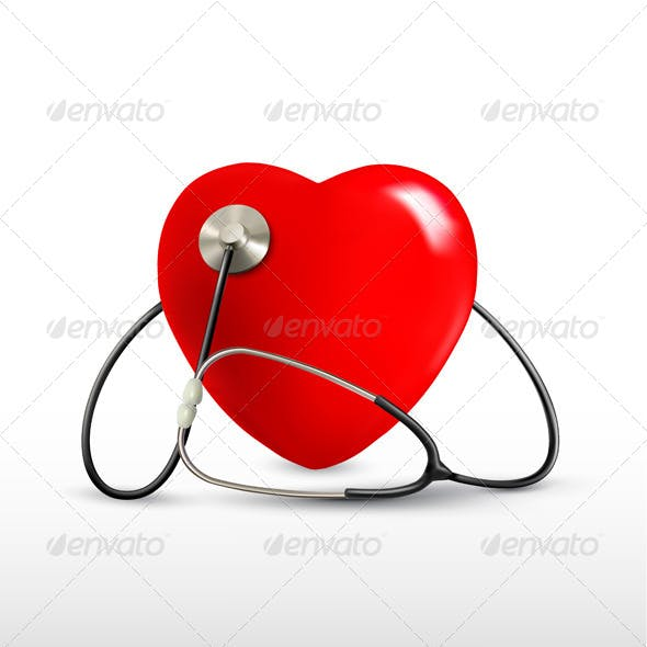 Background with a Stethoscope and a Heart