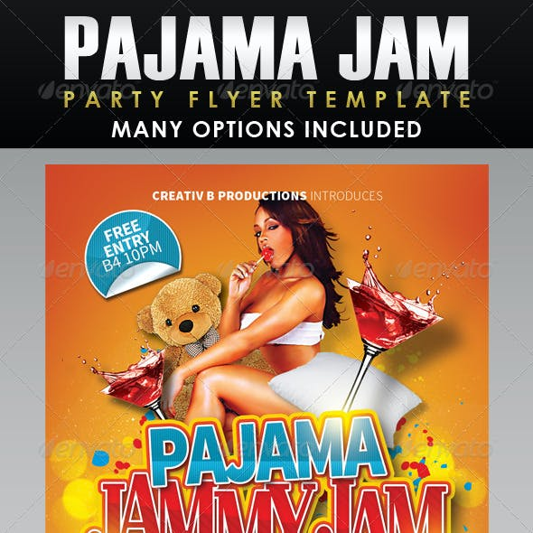 Pajama Jammy Jam Party Flyer Template