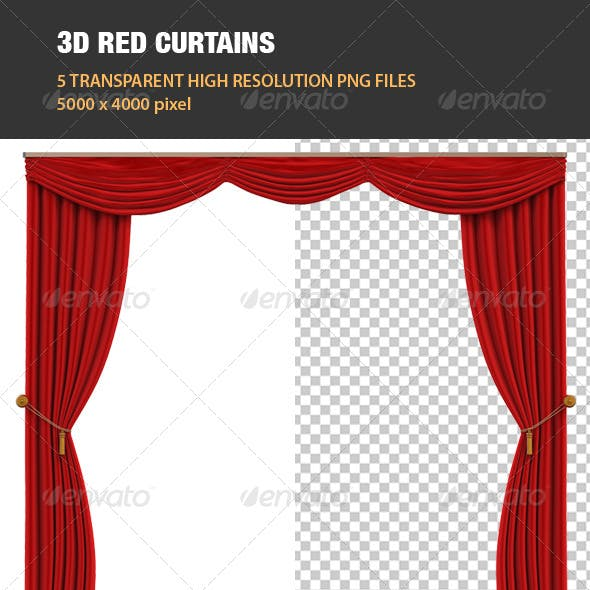 3D Red Curtains