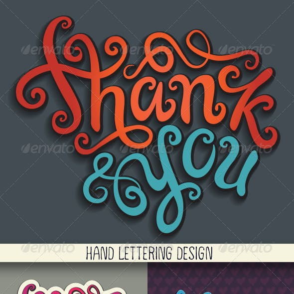 Thank You Hand Lettering Set