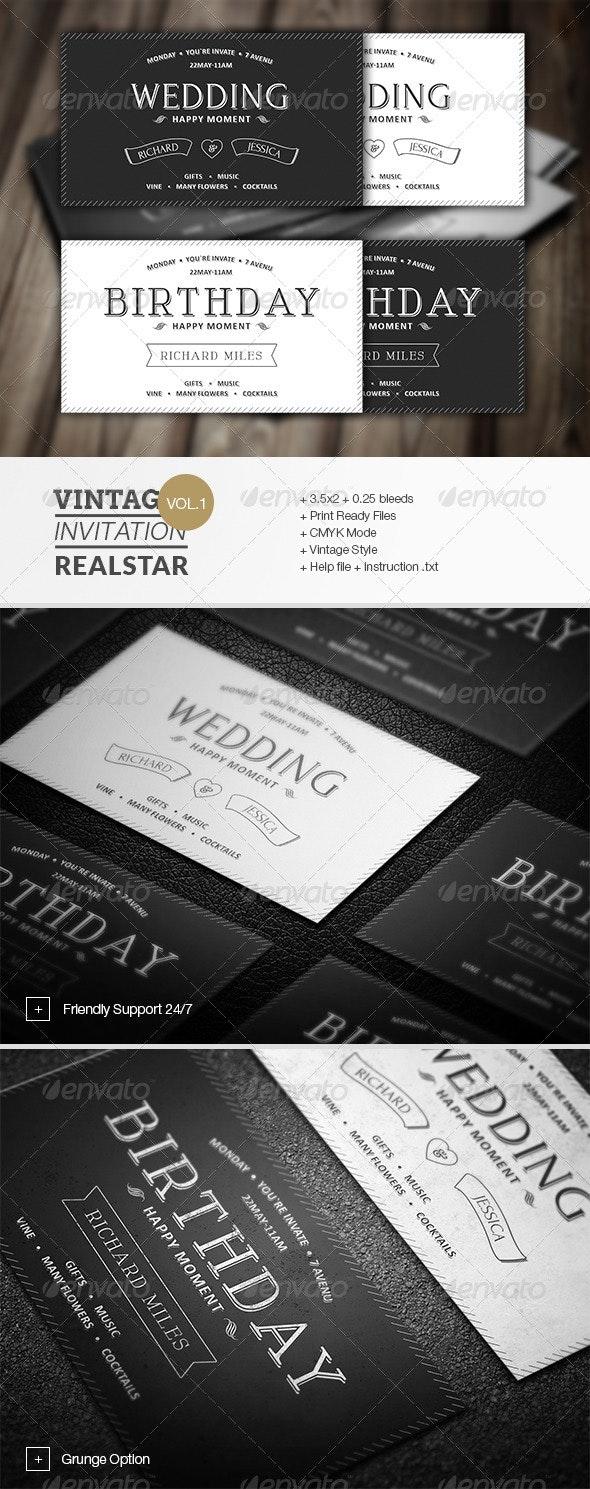 Vintage Invitation - Invitations Cards & Invites