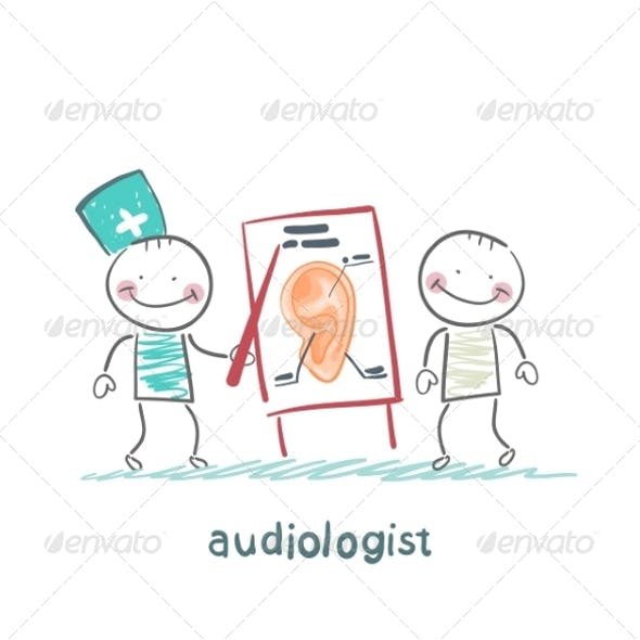 Otolaryngologist Shows a Presentation