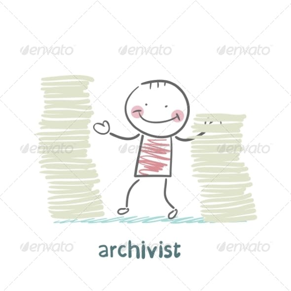 Archivist is Standing Near the Pile of Papers