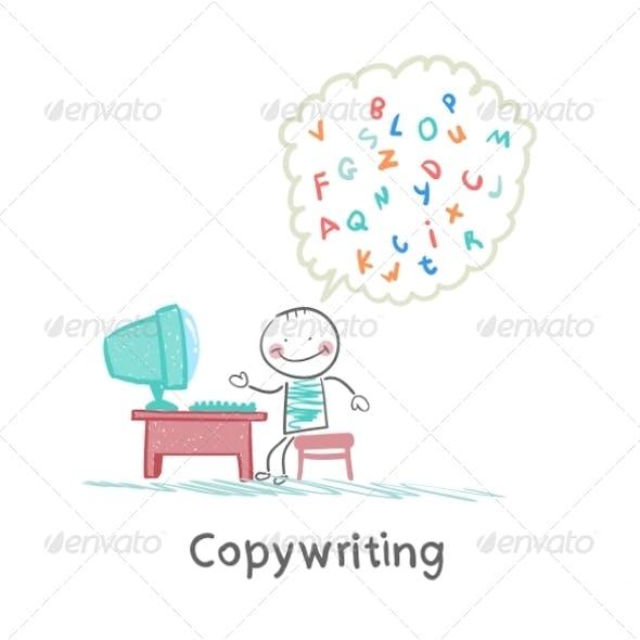 Copywriter at Work at the Computer