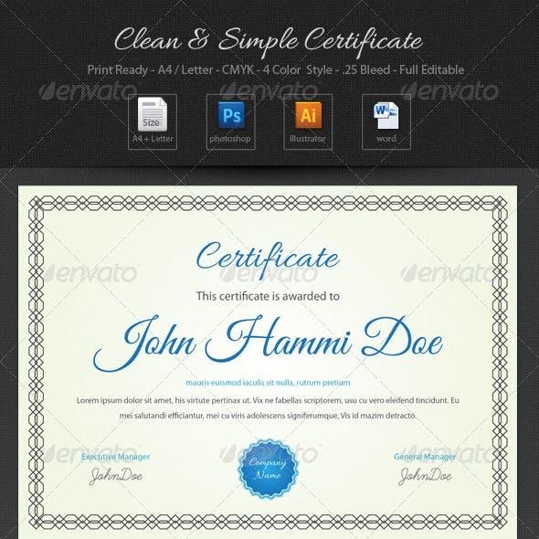 Clean & Simple Certificate