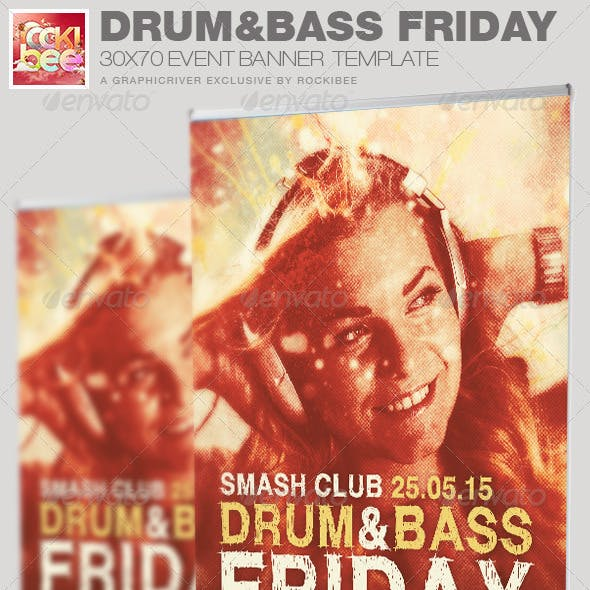 Drum and Base Friday Event Banner Template
