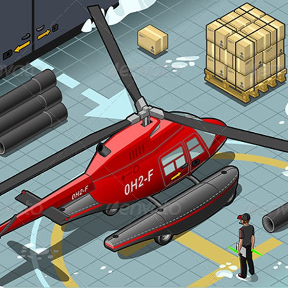 Isometric Arctic Emergency Helicopter Landed