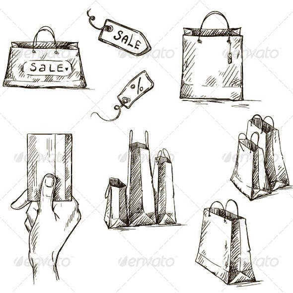 Shopping Icons, Sale Tag, Paper Bags