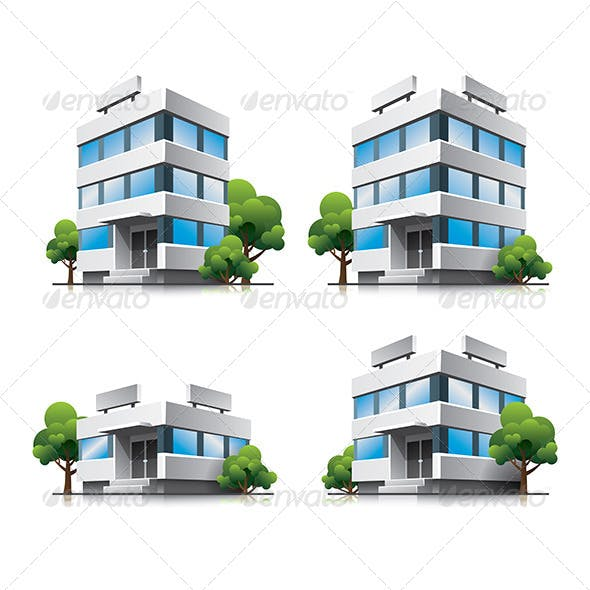Office Buildings Cartoon Icons