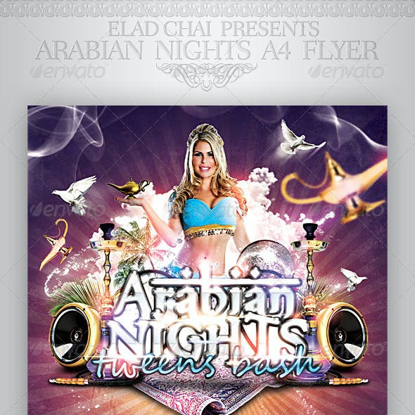 Arabian Nights A4 Flyer Poster Template
