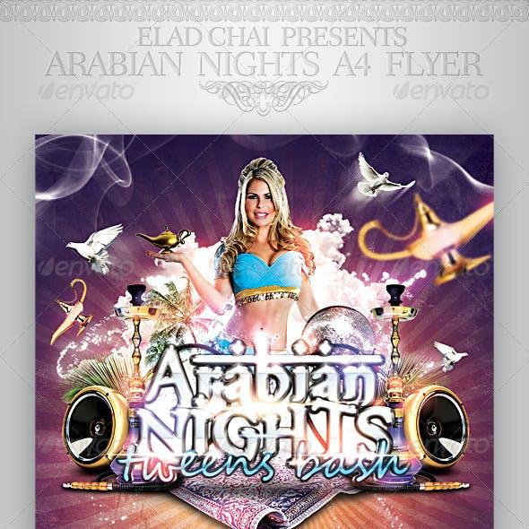 Arabian Nights A4 Flyer Poster Template
