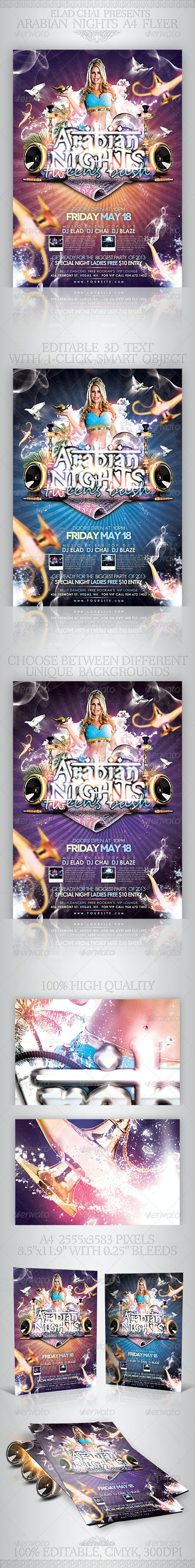 Arabian Nights A4 Flyer Poster Template - Events Flyers