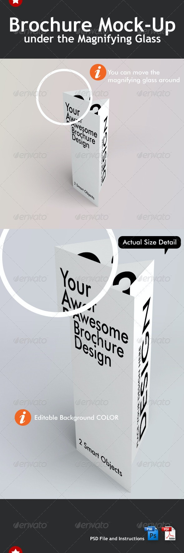 3 Fold Brochure Mock-Up Under the Magnifying Glass - Brochures Print