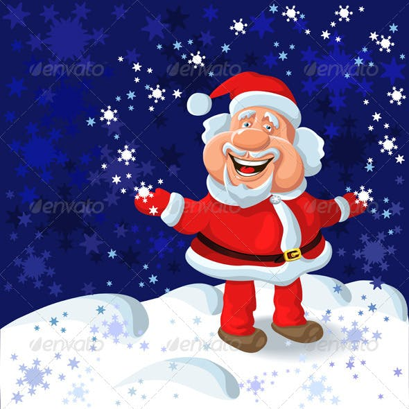 Happy Santa Claus on the Background of Snow