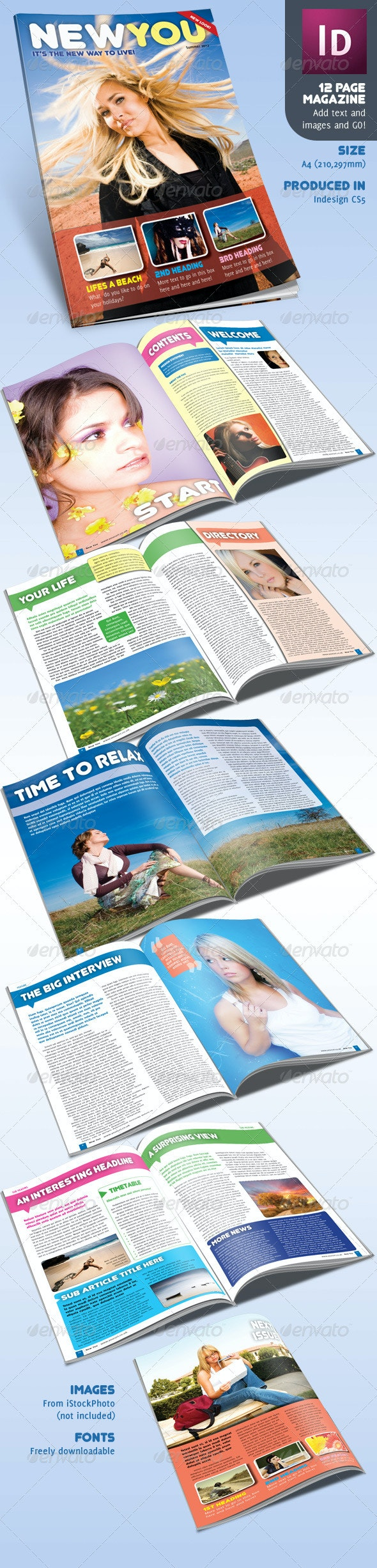 12 Page Magazine inDesign A4 Lifestyle - Magazines Print Templates