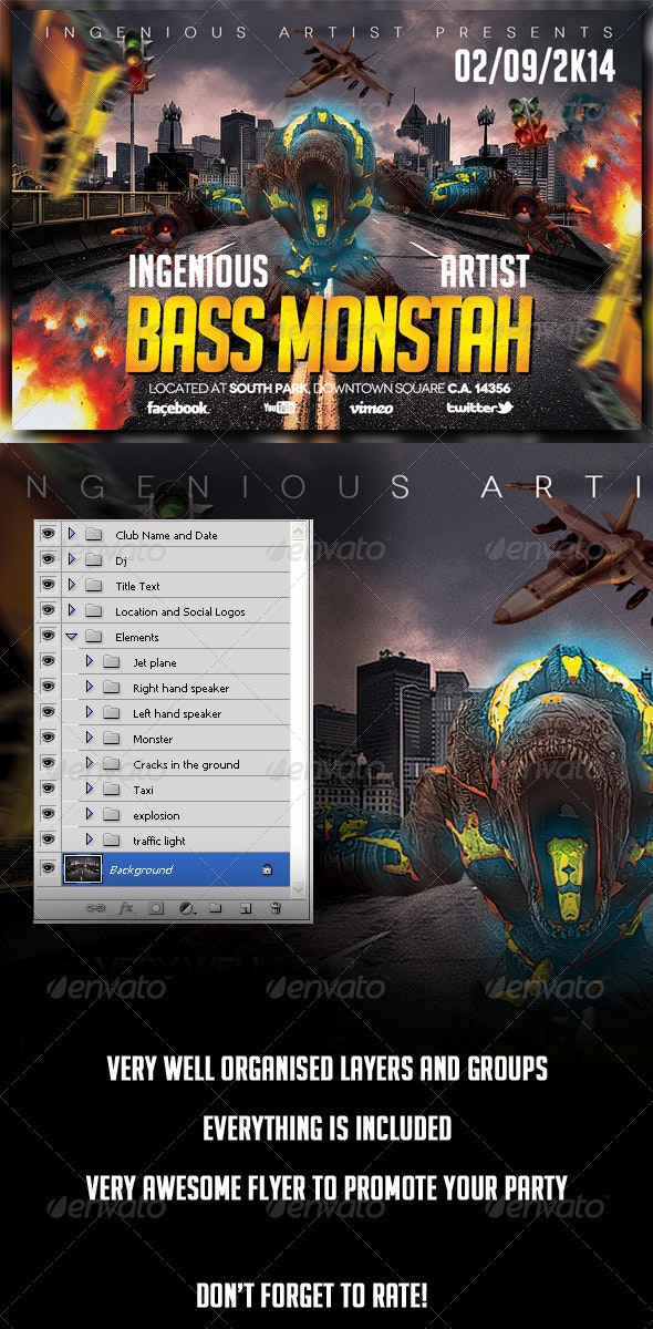Bass Monstah Party Flyer - Clubs & Parties Events