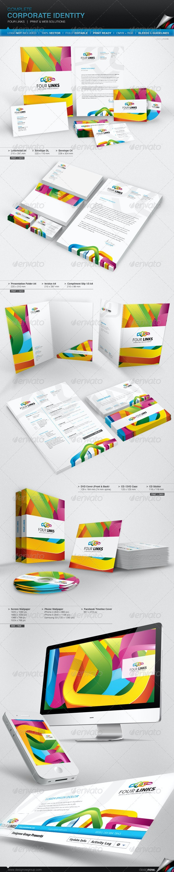Corporate Identity - Four Links - Stationery Print Templates