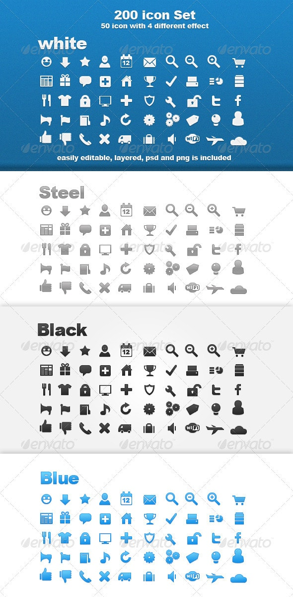 200 Icon Set Whit 4 Different Effect  - Web Icons