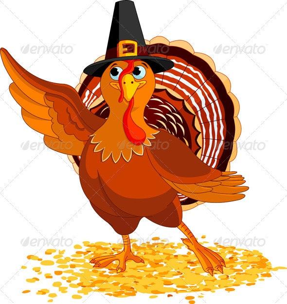 Thanksgiving Turkey Presenting - Seasons/Holidays Conceptual