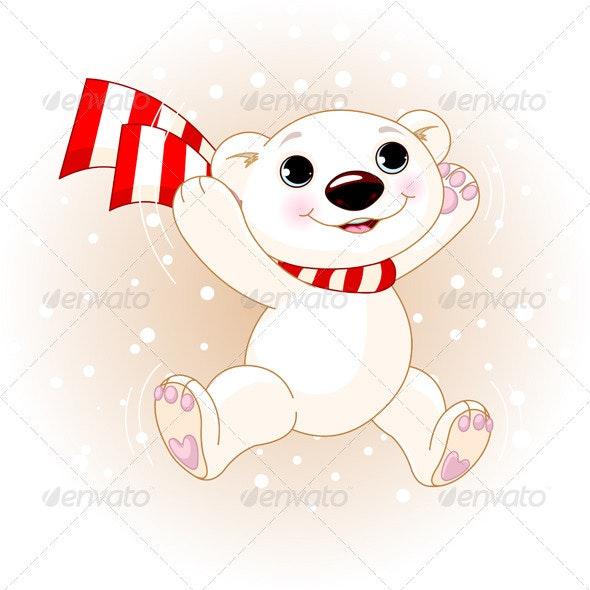 Cute Polar Bear jumping - Animals Characters