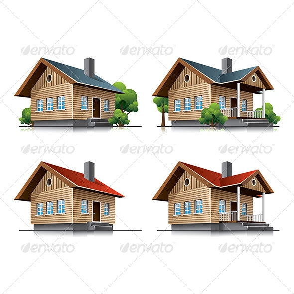 Cottage House Cartoon Icons - Buildings Objects