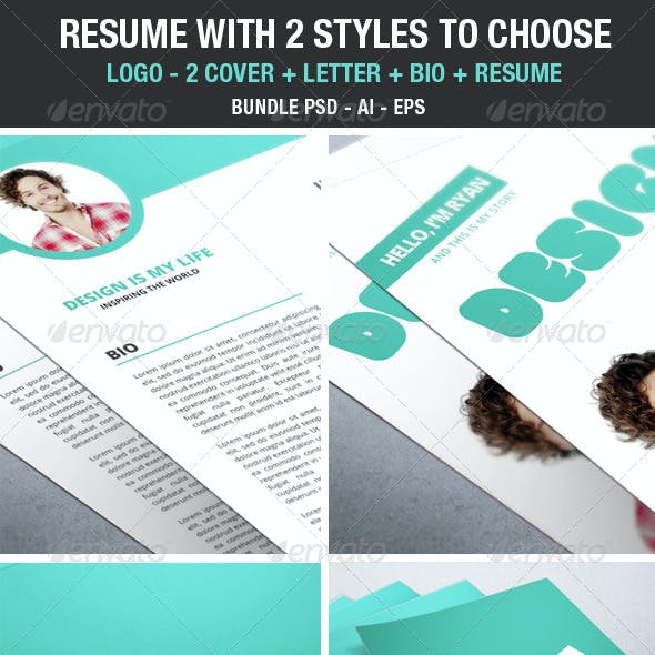Clean Modern Resume 2 styles to choose - Bundle