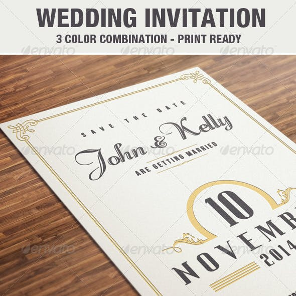 Elegant & Vintage Wedding Invitation / Card V2