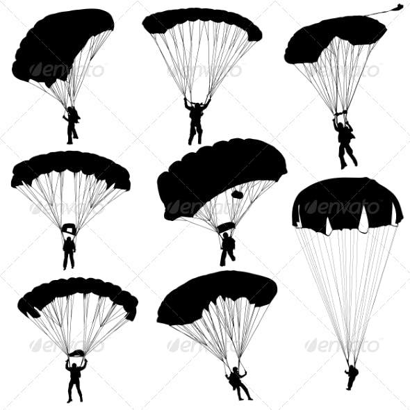 Parachuting Silhouettes
