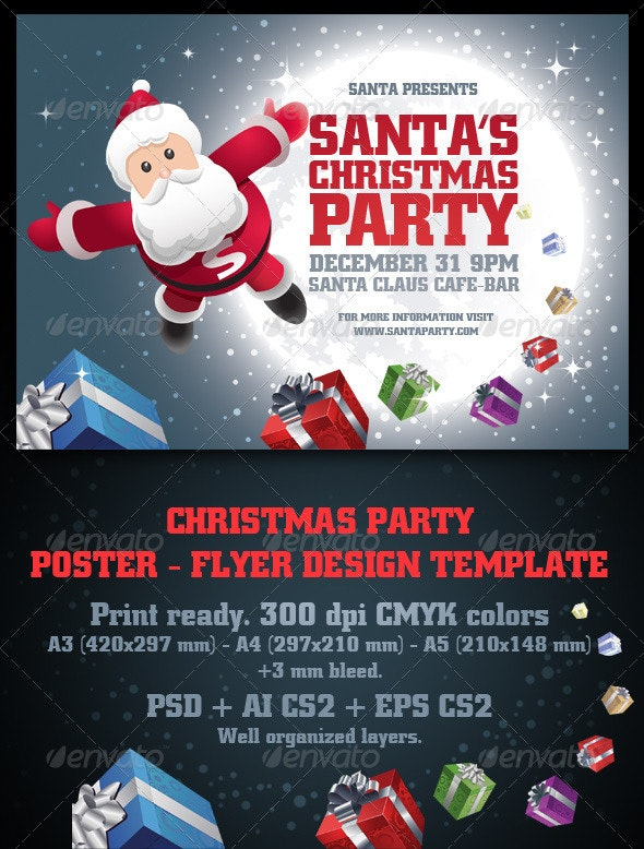 Santa's Christmas Party Poster & Flyer Set - Clubs & Parties Events