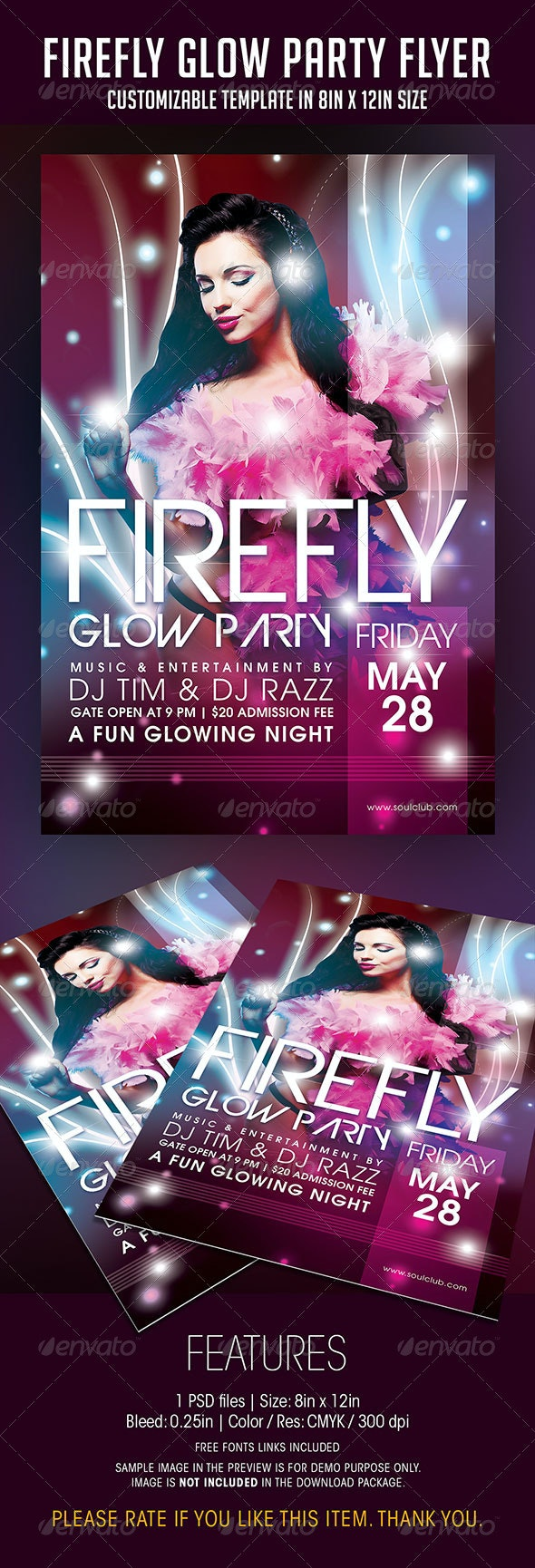 Firefly Glow Party Flyer - Clubs & Parties Events