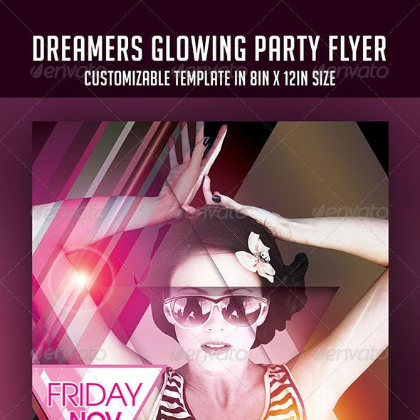 Dreamers Glowing Party Flyer