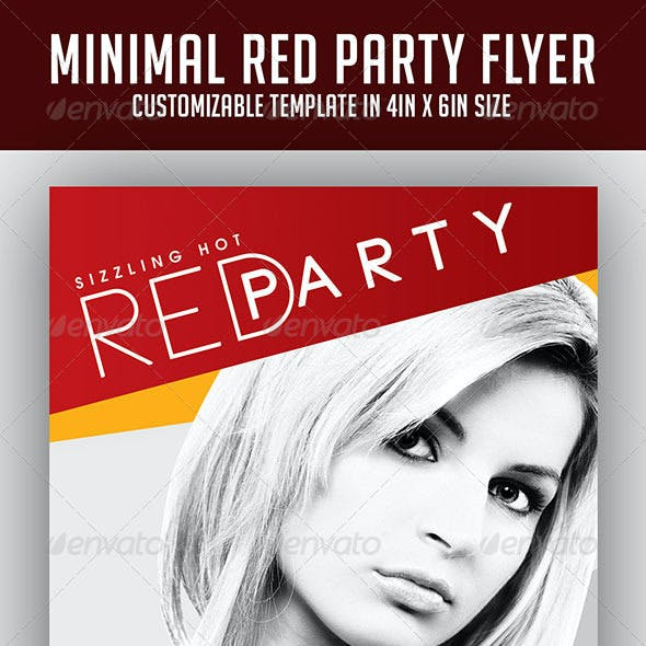 Minimal Red Party Flyer