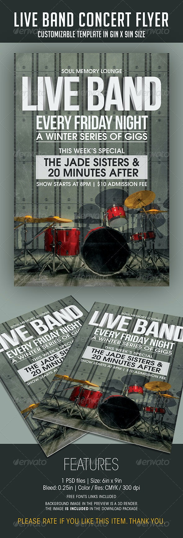 Live Band Gigs Flyer - Concerts Events