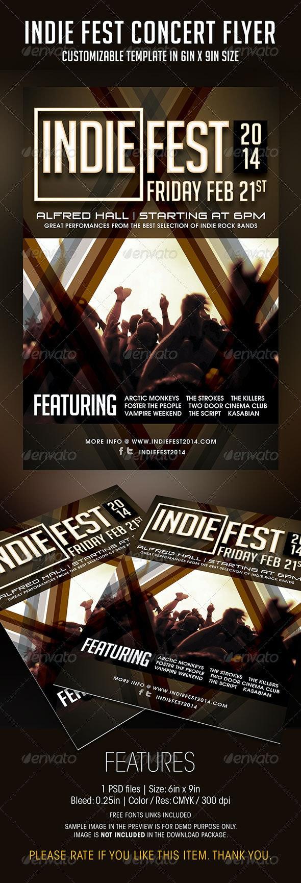 Indie Fest Concert Flyer - Concerts Events