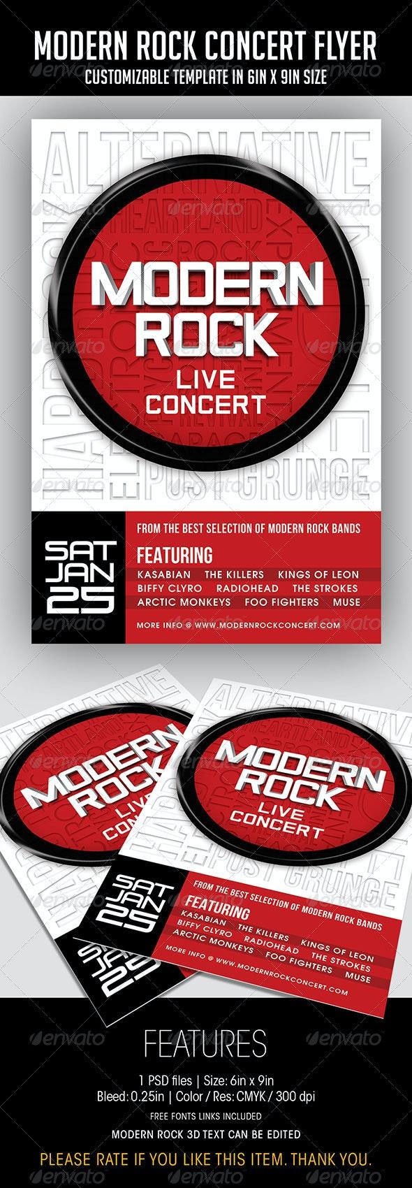 Modern Rock Concert Flyer - Concerts Events