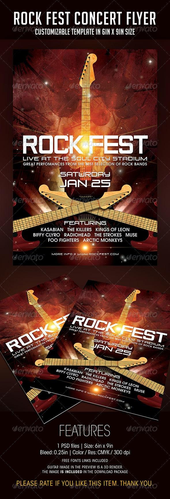 Rock Fest Concert Flyer - Concerts Events