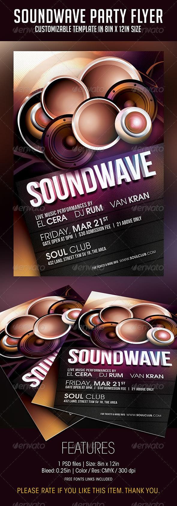 Soundwave Party Flyer - Print Templates